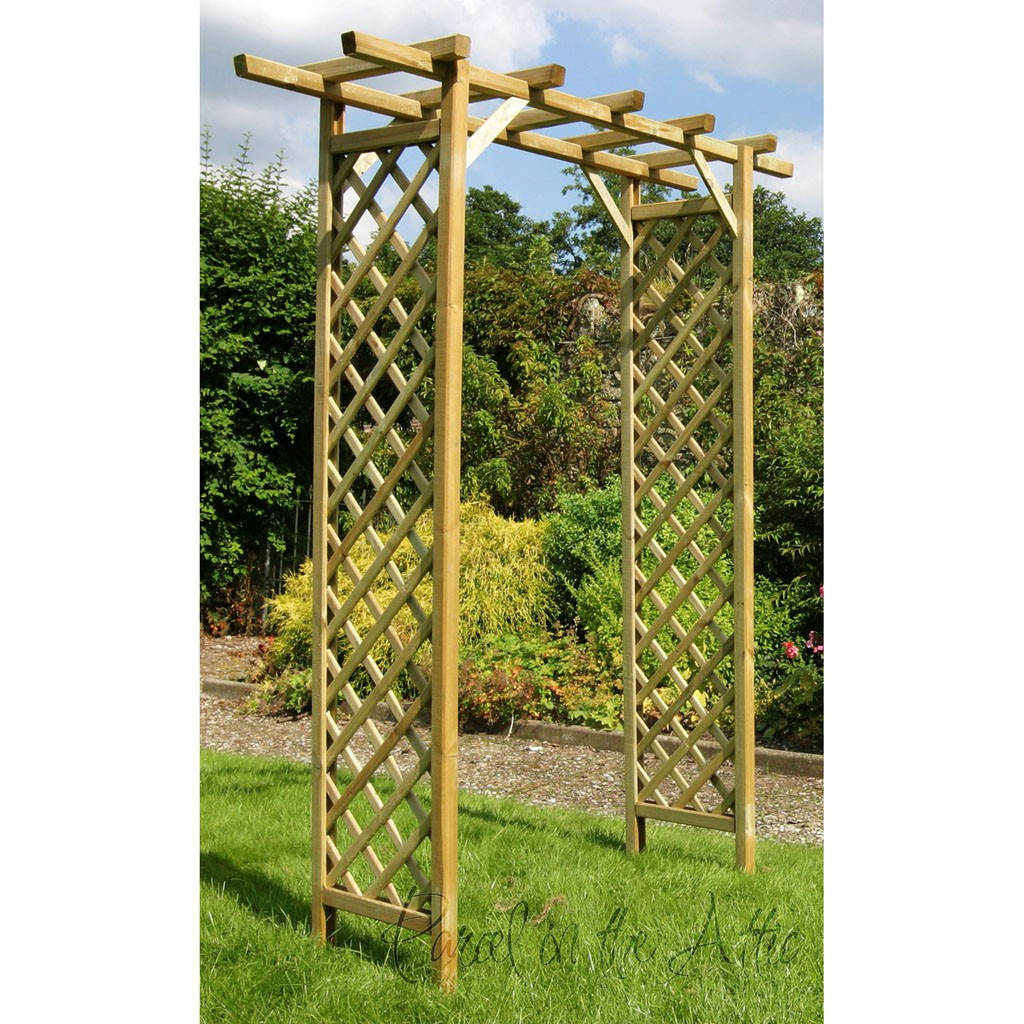 Flat top garden arch with trellis loading zoom