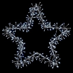 Christmas 60cm Silver Star with 240 Cool White Cluster Led Light - Indoor or outdoor use