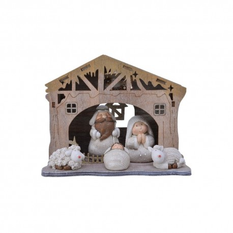 Christmas Nativity Set With 5 Figures and stables - pre-lit & Hand painted