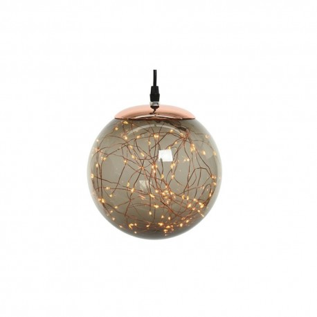 Christmas Pre-lit Smokey Coloured Bauble with Copper Wire 140 Warm White micro Led - 30cm