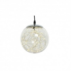 Christmas Pre-lit Smokey Coloured Bauble with Silver Wire 140 Warm White micro Led - 30cm