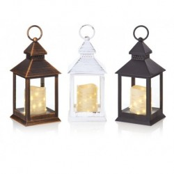 Christmas Flicker Candle Lantern With Warm White Pin micro LED in Black