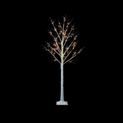 Pre-Lit Christmas White Birch Tree 150cm/5ft height with 64 Warm White Micro Led