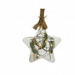 Christmas Pre-lit Star Shape Glass Bauble with snowy Pine decor and Jute Rope