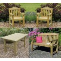 Elda Heavy Duty Solid Wood Garden Set - Table, 2 chairs & 5ft Bench