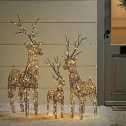 Set of 3 Brown Wicker Standing Reindeer Outdoor - Warm White LED