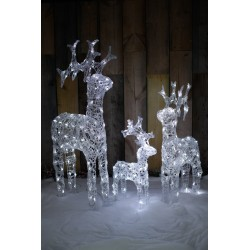 Set of 3 Acrylic Standing Reindeer Pre-lit with Cool White LEDs Decoration
