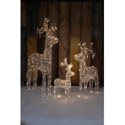 Set of 3 Acrylic Standing Reindeer Pre-lit with Warm White LEDs Decoration