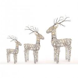 Set of 3 Grey Wicker Standing Reindeer Outdoor - Warm White LED