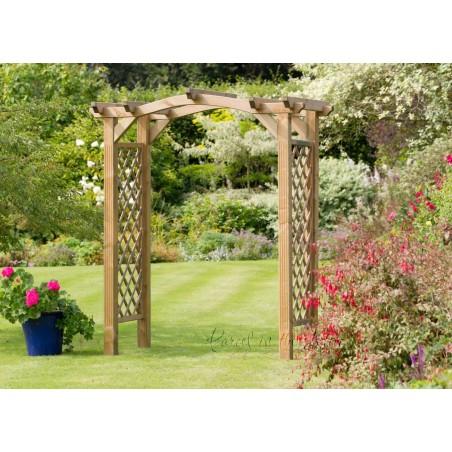Pontevedra Wave Top Garden Arch with Trellis Sides