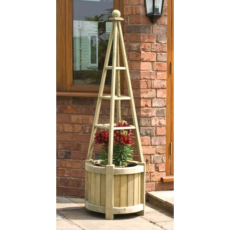 Free-standing Garden Obelisk with Planter box in Solid wood
