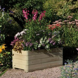 Rectangular Contemporary Solid Wood Garden Planter Raised Bed for Vegetable & Flower