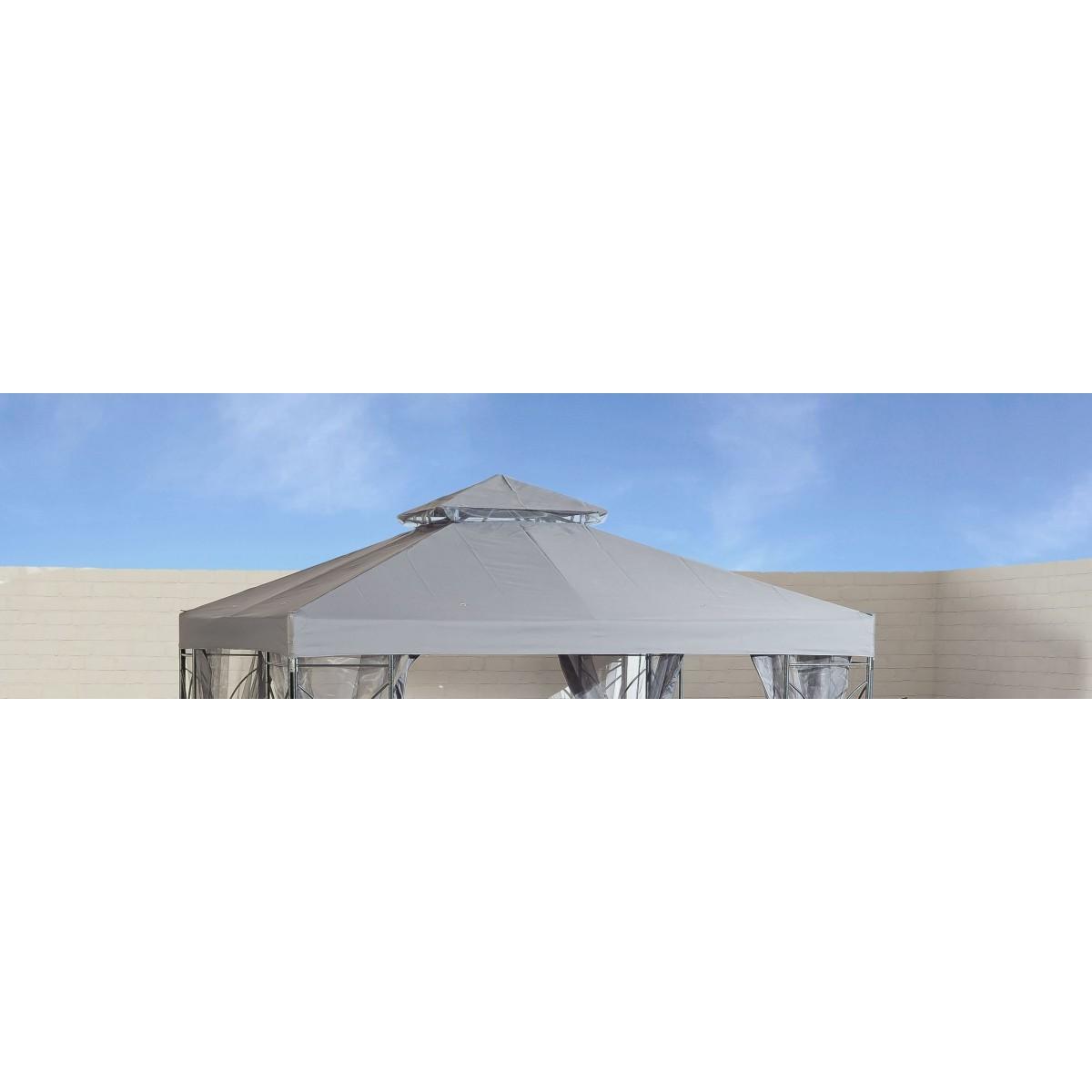 Contemporary Garden Gazebo Grey Replacement Canopy (2.5x2.5m)