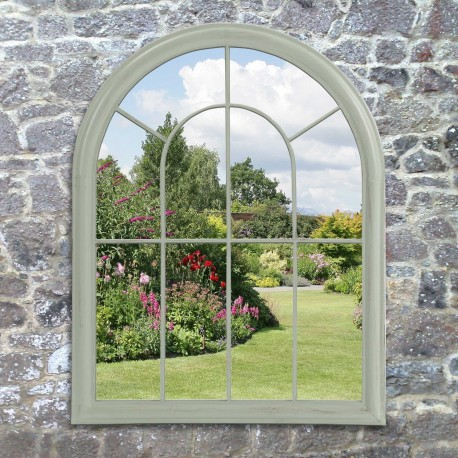 Green Large Decorative Arched Door Metal Framed Garden Wall Mirror