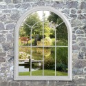 White Large Decorative Arched Door Metal Framed Garden Wall Mirror