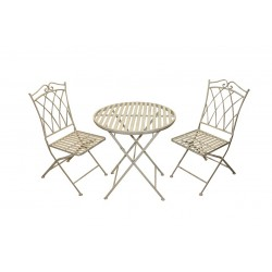 Wrought Iron Bistro Set -Table & 2 Folding Chairs in Ivory
