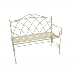 Metal Garden Bench in Ivory