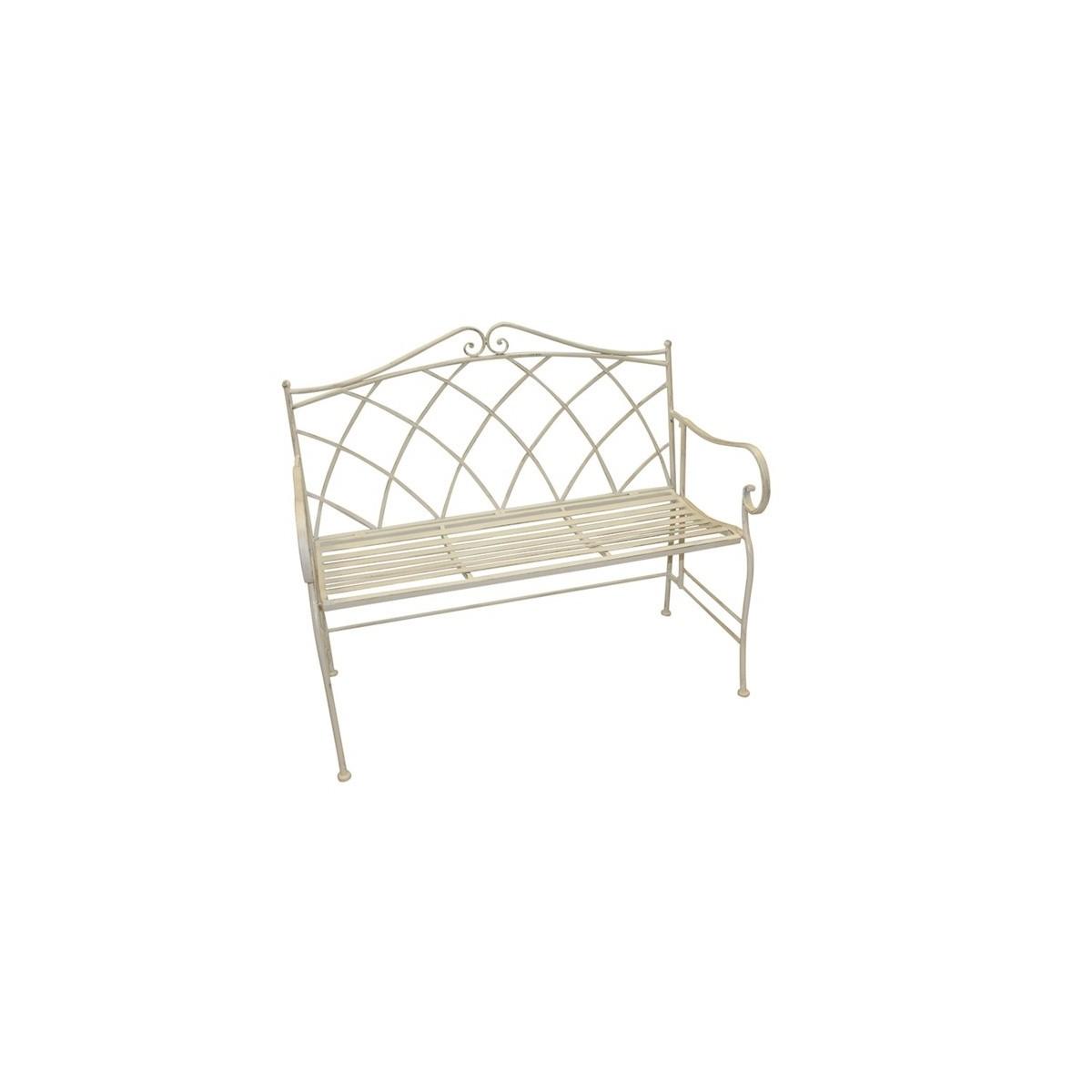 Metal Garden Bench in Ivory