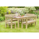 Leida Solidwood Garden Set (Table, 2 Benches & 2 chairs)