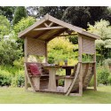 Marbella Garden Arbour Shelter Gazebo with Dining Set in Pressure treated Wood
