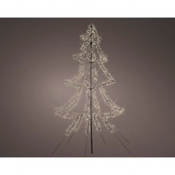 3m Easy Set Up Pre Lit Christmas Tree with 1800 Warm White Cluster LED's - Twinkle Multi Function - Indoor or Outdoor use
