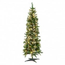 Slim Pre-Lit Christmas Tree with Frosted Tip and 200 Warm White Leds - 180cm/6ft