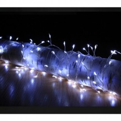 Silver Wire Christmas Fairy String Lights - 200 Ice White Micro LED Lights & 4m long - indoor or outdoor use