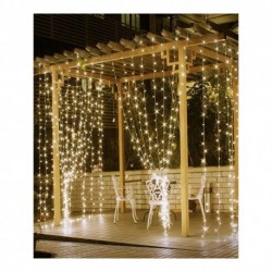 Light curtain Fairy Lights - 3mx3m with 306 Warm White Multi function LED Lights - outdoor use