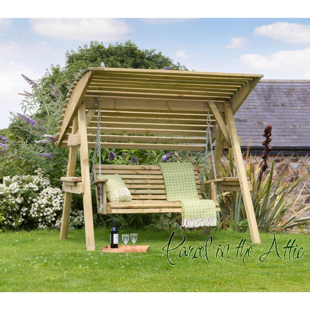 2 Seat Wooden Garden Swing Chair Seat Hammock Bench Furniture Lounger