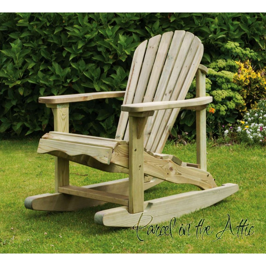 Solid Wood Adirondack Rocking Chair Parcel In The Attic