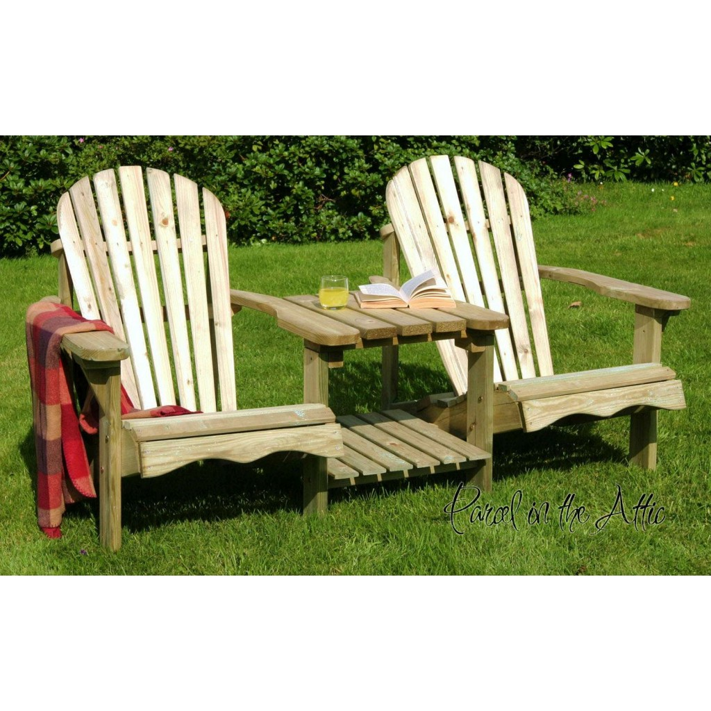 Solid wood Adirondack Double Chair - Parcel in the Attic ...