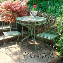 Livorno Wrought Iron Bistro Set - Table & 2 Folding Chairs in Green