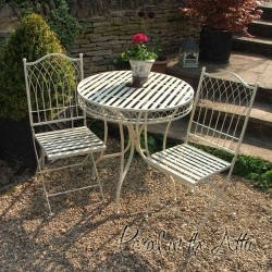 Livorno Wrought Iron Bistro Set - Folding Table & 2 Folding Chairs in Cream