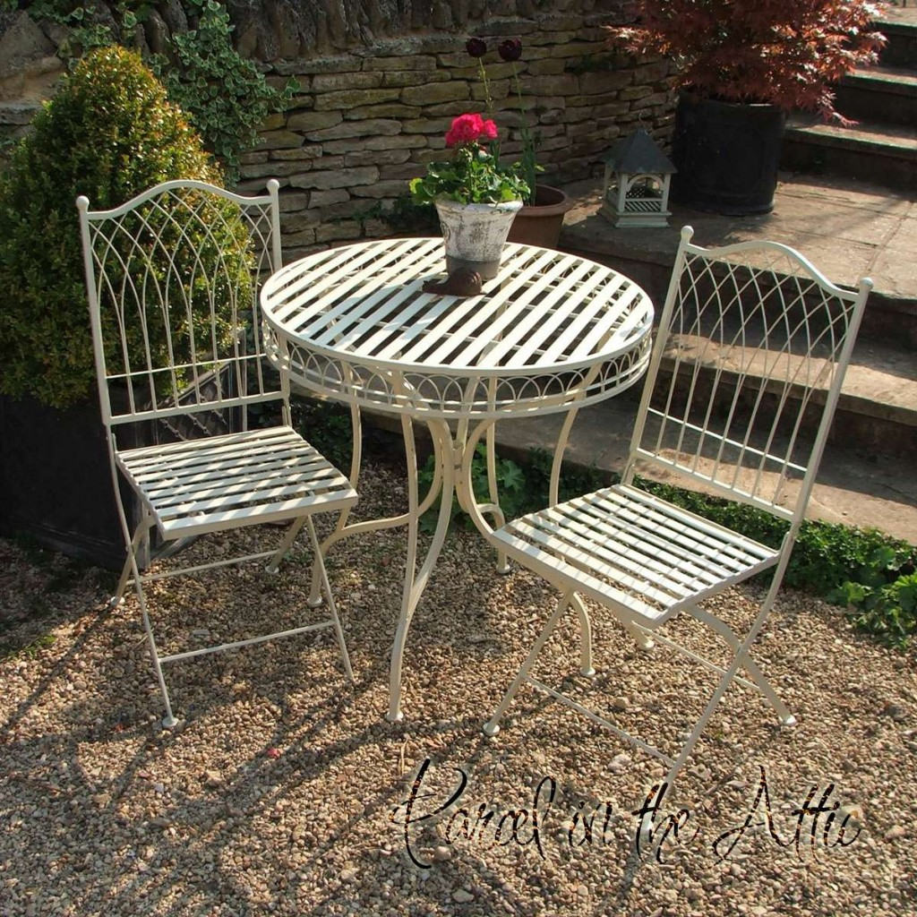 Livorno Wrought Iron Bistro Set   Folding Table U0026 2 Folding Chairs In  Cream. Loading Zoom