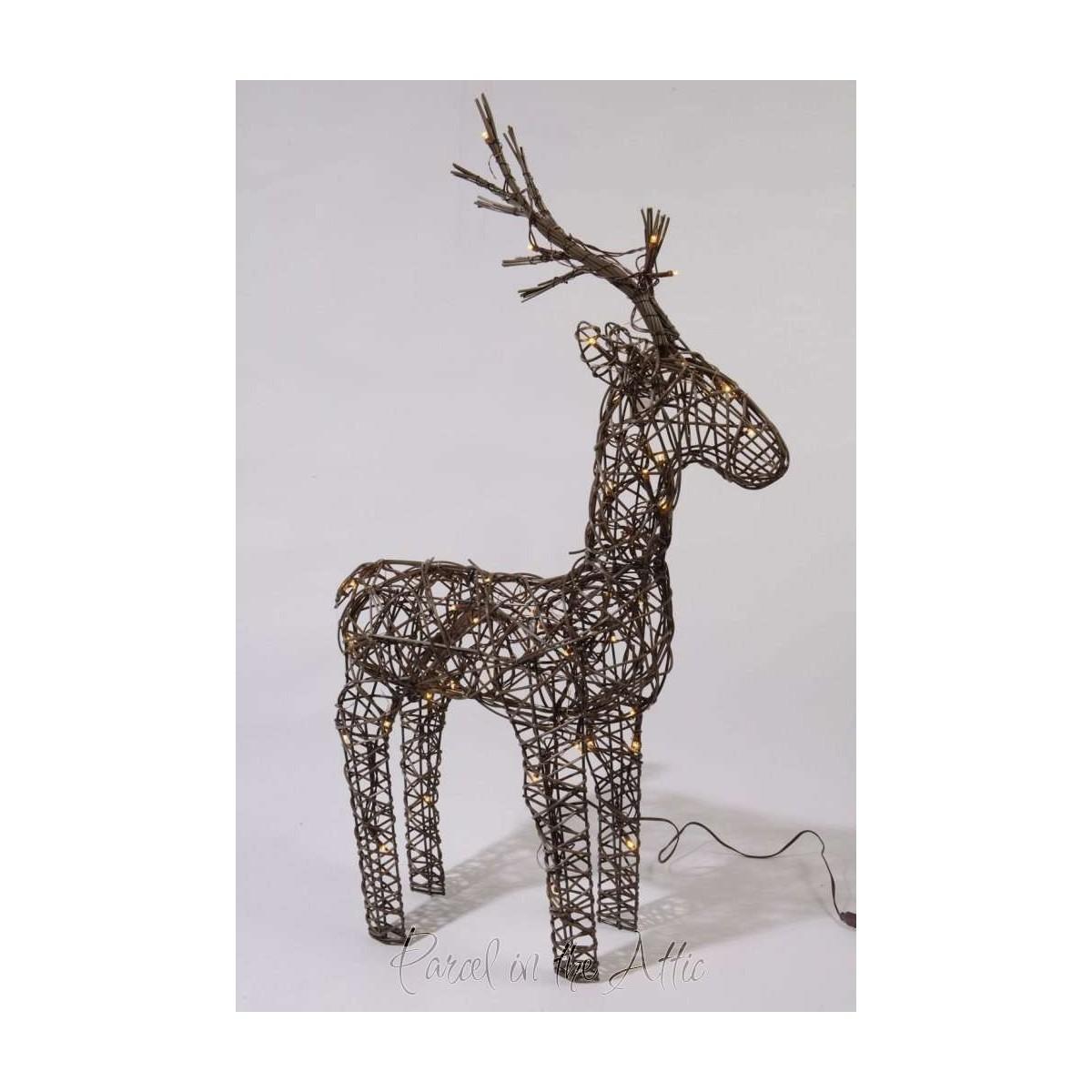60cm Brown Wicker Standing Reindeer Outdoor - Warm White LED