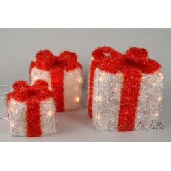 Sisal Gift Boxes with Pre-Lit Warm White lights and Ribbon in Red