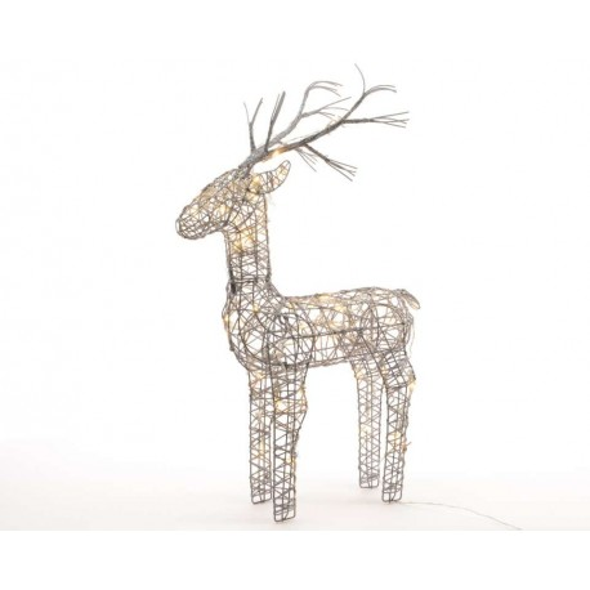 60cm Grey Wicker Standing Reindeer Outdoor - Warm White LED