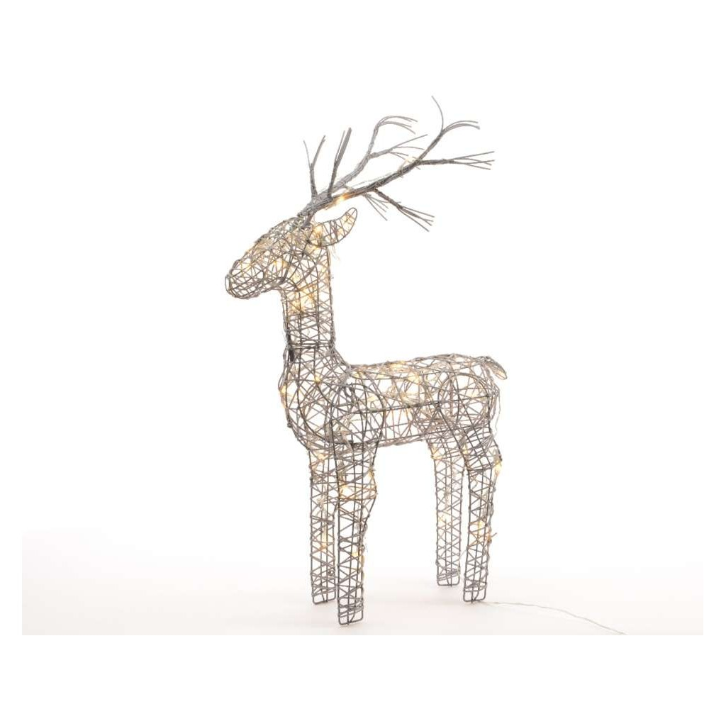 83cm grey wicker standing reindeer outdoor warm white led