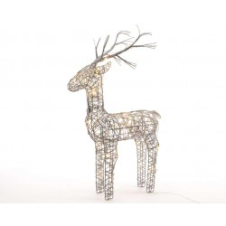 135cm Grey Wicker Standing Reindeer Outdoor - Warm White LED