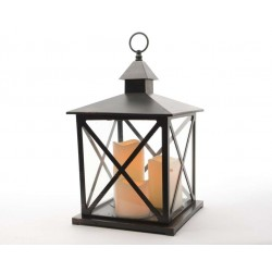 Black Antique Lantern with LED Candles - 41cm Height
