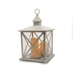 White Antique Lantern with LED Candles - 41cm Height