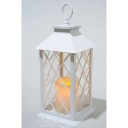 Pure White Lantern with LED Candles and Timer - 35cm Height