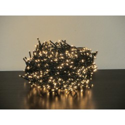 1500 Ultra-Bright Warm White LED Outdoor Fairy String Twinkle Compact Lights (green cable)