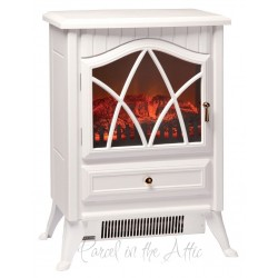 Electric Stove Heater with Flame Effect - Cream White
