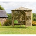 Bilbao Garden Corner Arbour seat with Trellis and coffee Table