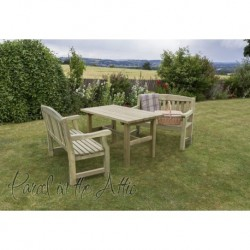 Elda Solidwood Outdoor Furniture Dining Set -Table & 2 Bench Set