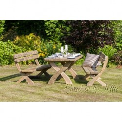Laguna Solidwood Outdoor Dining Set - Table and 2 Bench