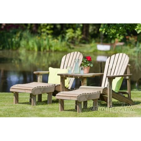 Murcia Solidwood Outdoor Adirondack Set - Double Chair & 2 Footstools