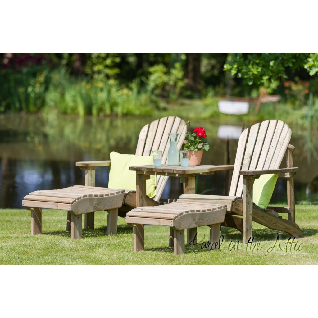 Picture of: Murcia Solidwood Outdoor Adirondack Set Double Chair 2 Footstools