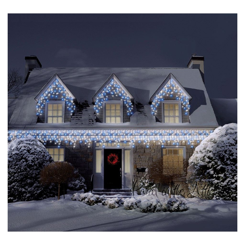 christmas icicle lights 700 warm white ice white multi function led outdoor